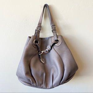 Fendi Silver Pewter Leather Hobo Bag